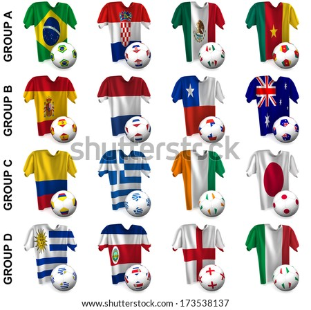 3D render of 16 of the world's greatest soccer nations competing in 2014. Part 1 of 2.