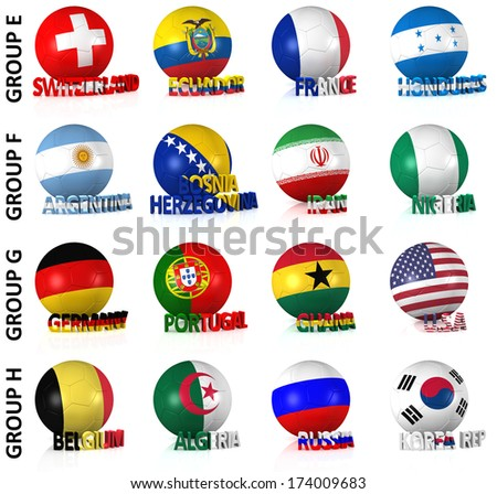 3D render of 16 of the world's greatest soccer nations competing in 2014. Part 2 of 2.
