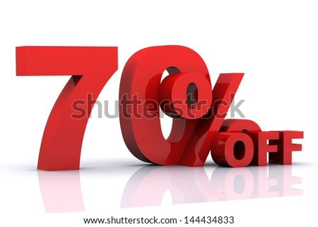 3D render of '70% OFF' with reflections isolated on white Background
