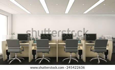 3d Render Office Cubicles Computers Chairs Stock Illustration