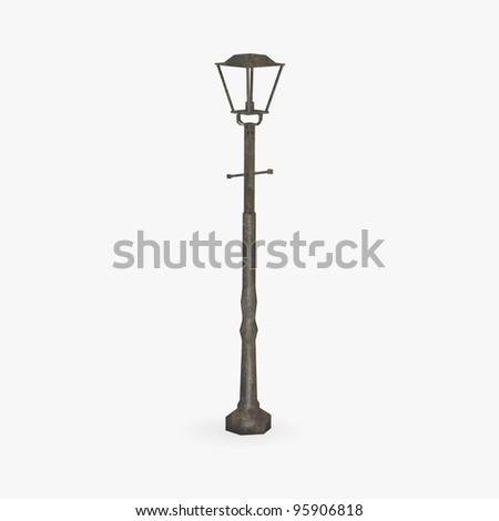 3d render of old street lamp