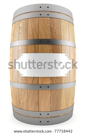 3d render of one wine barrel with label - stock photo