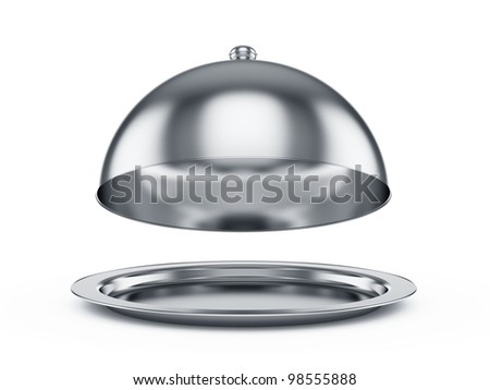 3d render of opened cloche, isolated on white background - stock photo