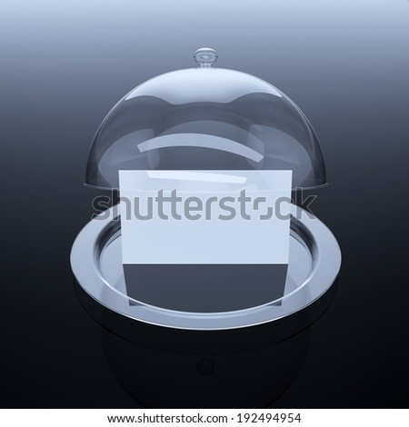 3d render of opened glass cloche with paper template, on dark background  - stock photo