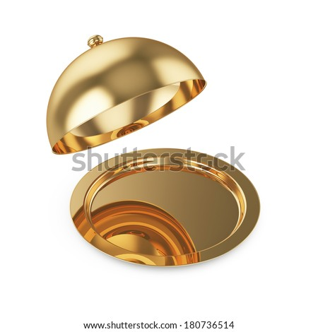 3d render of opened golden cloche, isolated on white background  - stock photo