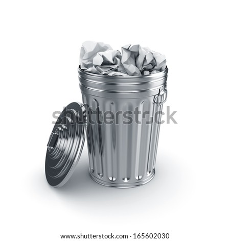3d render of opened trash can filled with paper isolated on white background  - stock photo