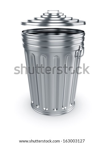3d render of opened trash can isolated on white background