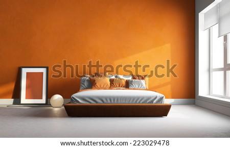 3d render of orange bedroom - stock photo