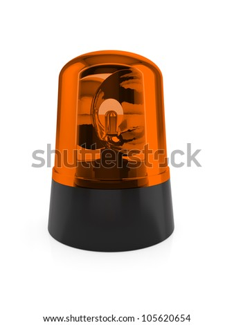 3d render of orange flashing light on a white background