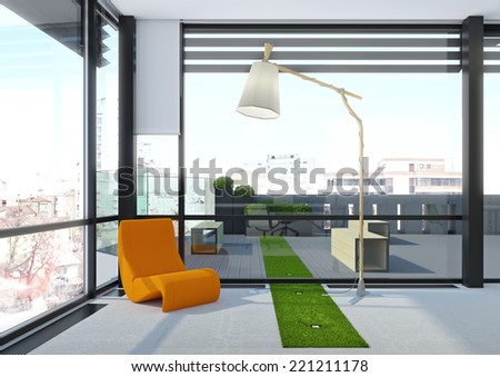 3d render of orange lounge chair stands at large window on top floor of skyscraper - stock photo