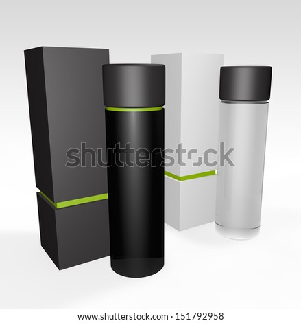 3d render of packagin design isolated on a white background - stock photo