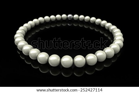 3D render of pearls over black background - stock photo