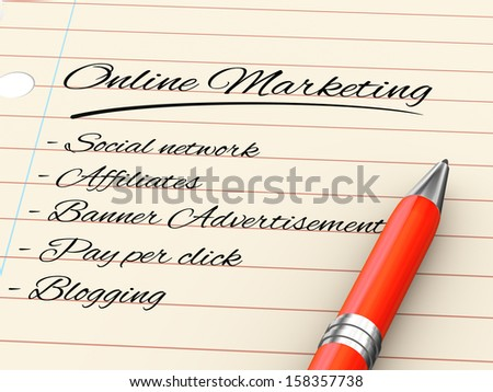 3d render of pen on paper written online marketing - stock photo