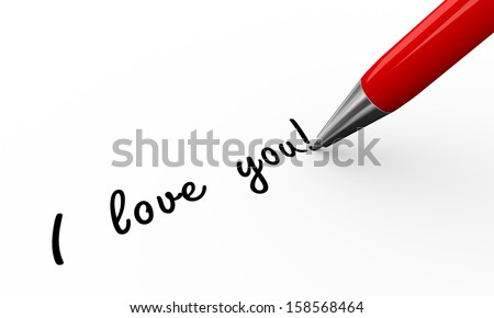 3d render of pen writing i love you on white paper background - stock photo