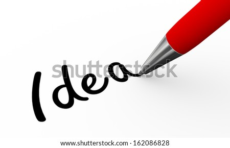 3d render of pen writing idea on white paper background - stock photo