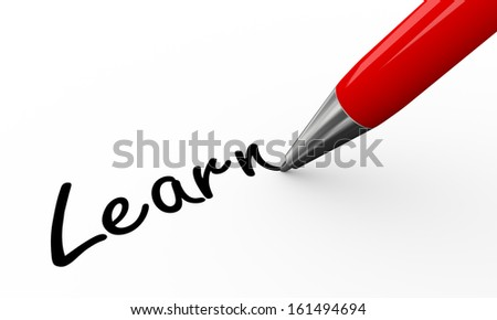 3d render of pen writing learn on white paper background - stock photo