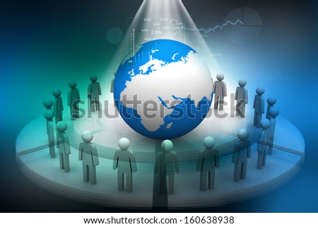 3d render of people around globe on abstract digital background  - stock photo