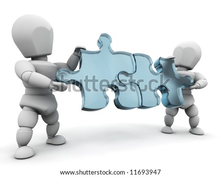 3D render of people connecting puzzle pieces