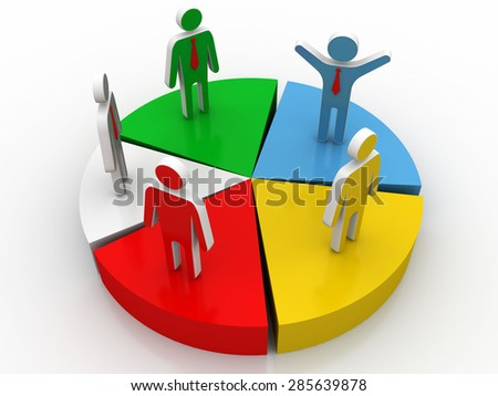 3d render of people on reflective pie chart. Concept of companies and business merge and acquisitions