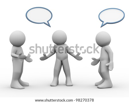 3d render of people taking and discussion - stock photo