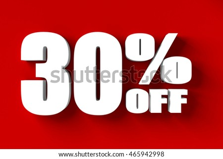 3d render of 30 percent off in red background