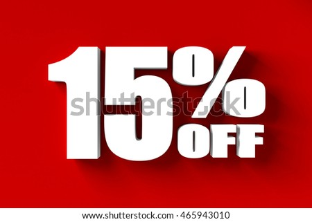3d render of 15 percent off in red background