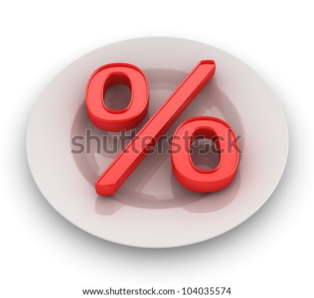 3d render of percent on plate
