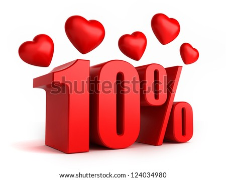 3d render of 10 percent with hearts - stock photo