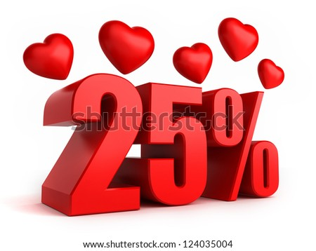 3d render of 25 percent with hearts - stock photo