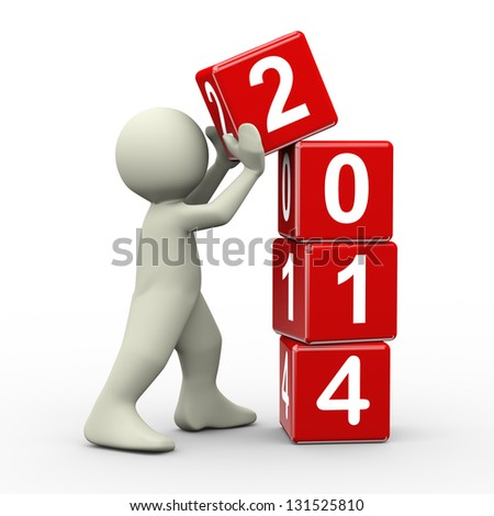 3d render of person placing 2014 new year cubes. 3d illustration of human people character. - stock photo