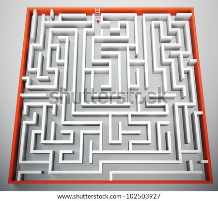 3D render of person trying to escape from maze