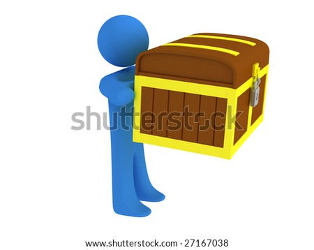 3d render of person with treasure chest. - stock photo