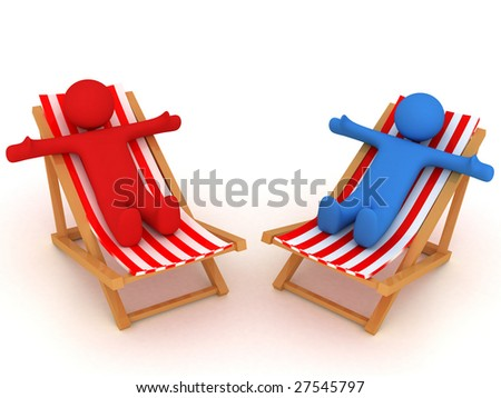 3d render of persons on chaise longues