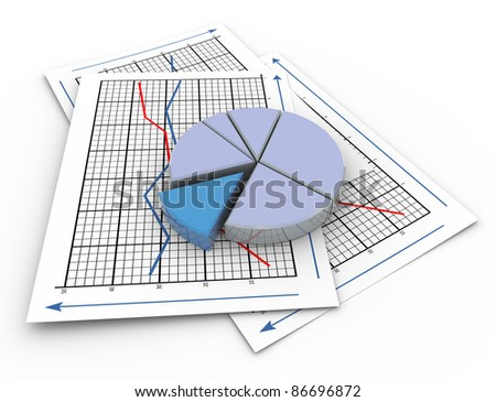 3d render of pie chart on a paper sheet containing sales graph. - stock photo