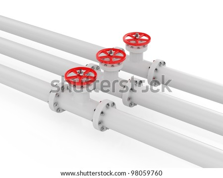 3d render of pipelines on white background - stock photo