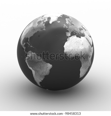 3D render of planet earth over white background