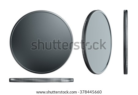 3d render of plastic silver with plated materials medal isolated on white background - stock photo
