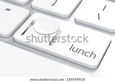3d render of plate, fork and knife icon on the keyboard. Lunch concept  - stock photo