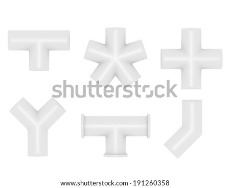 3d Render of PVC Pipe Joints - stock photo