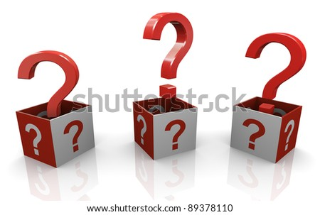 3d render of question mark boxes - stock photo