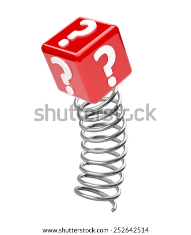 3d render of question mark on metal spring. - stock photo