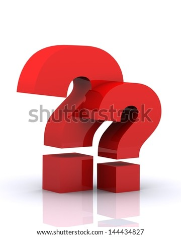 3D render of 'Question Mark' with reflections isolated on white Background