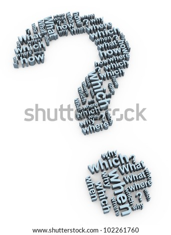 3d render of question mark words symbol - stock photo