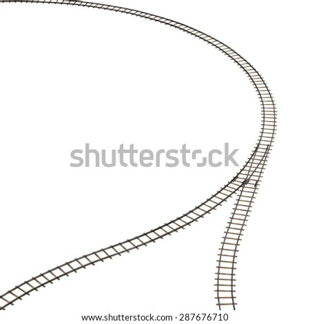 3d render of railway track - stock photo