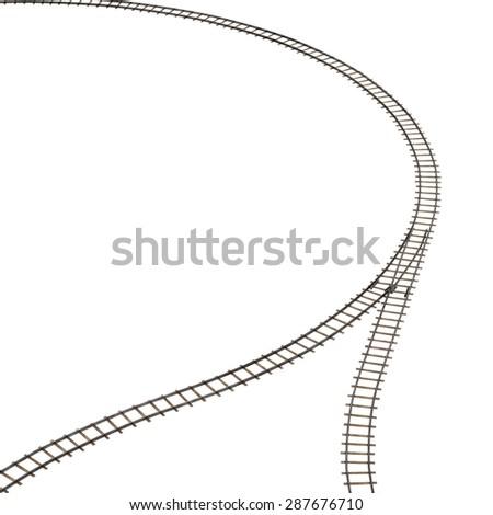 3d render of railway track - stock photo