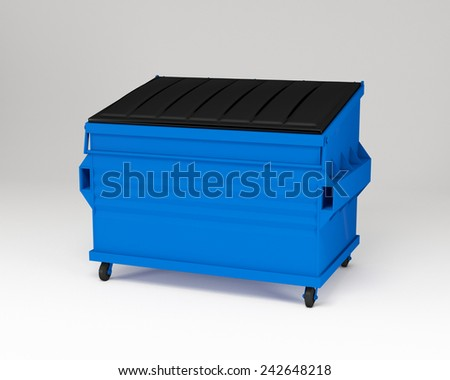 3d render of realistic blue trash box.