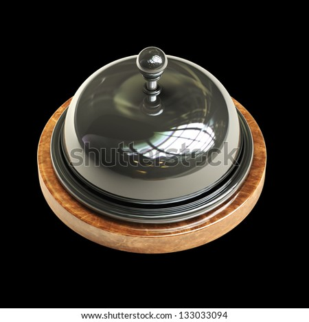 3d render of Reception bell isolated on black background High resolution - stock photo
