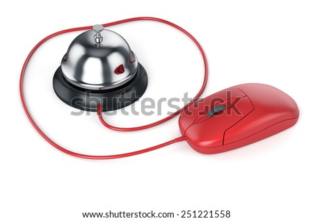 3d render of reception bell with red computer mouse. Service concept - stock photo
