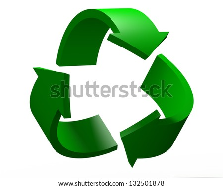 3D Render of Recycling Symbol Isolated on the White Background