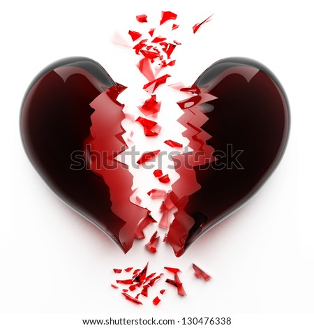 3d render of red broken heart isolated on white background High resolution - stock photo